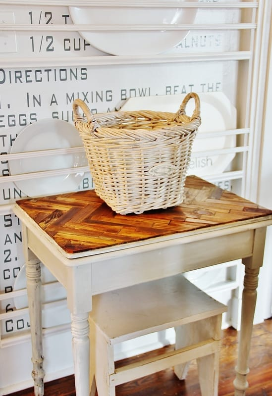 Herringbone Paint Stick Table