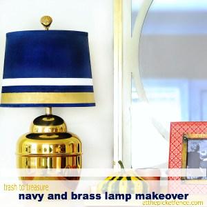 Trash to Treasure Navy and Brass Lamp Makeover thumbnail