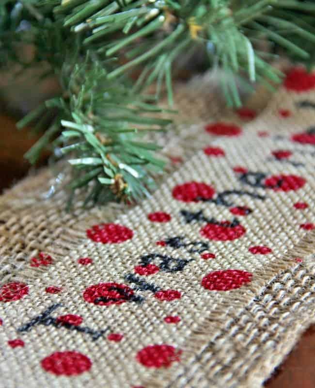 printed-burlap-ribbon-Christmas