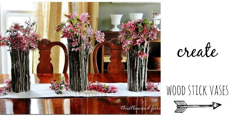 Wood Stick Vase