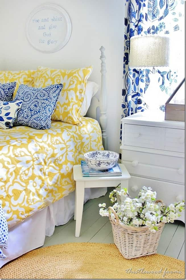 blue and yellow guest bedroom
