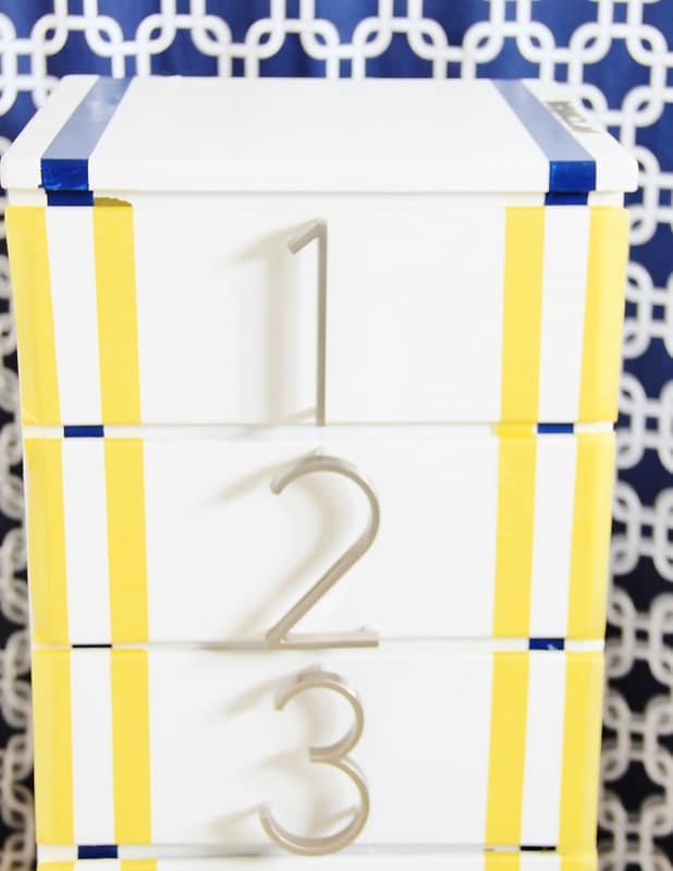 painted dresser with stripes diy