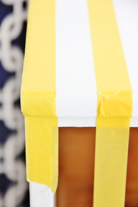 painting stripes on dresser