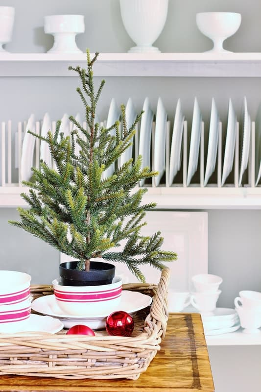 Christmas decorating butlers  pantry tree
