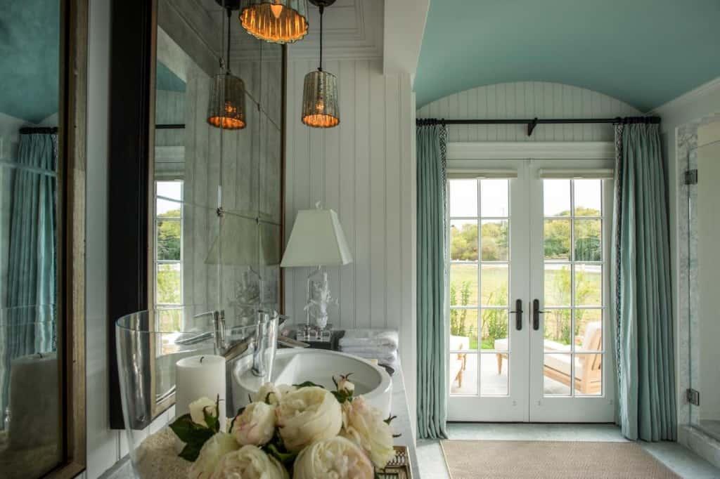 HGTV Dream Home Master Bathroom Curtains on French Doors