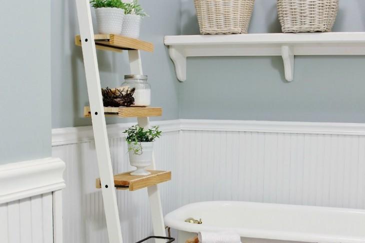 Diy Ladder Shelf For Bathroom Clublilobal Com