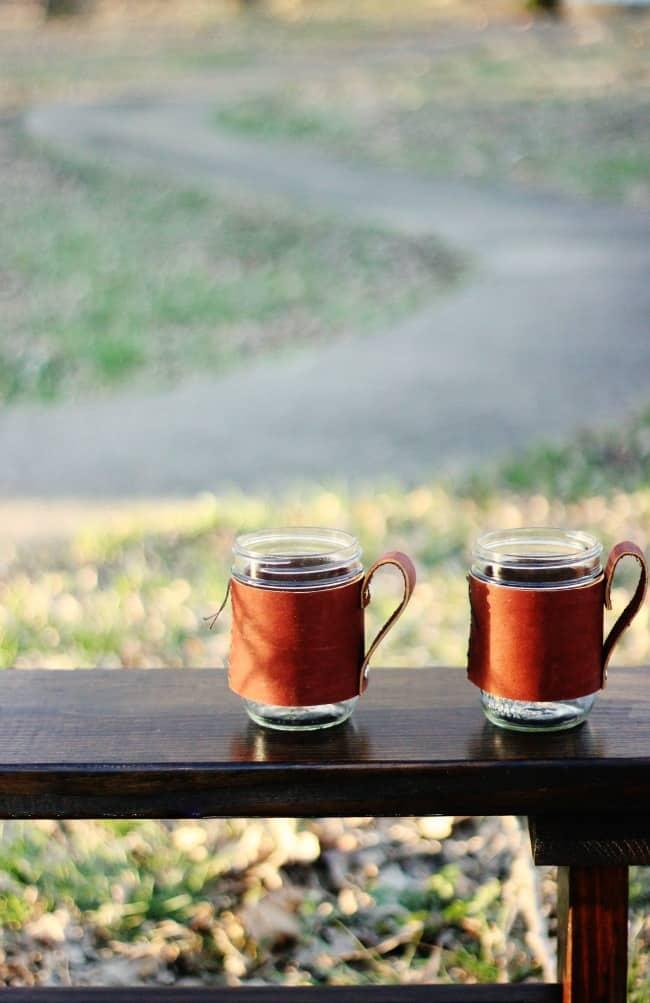 Mason Jar Leather Mugs
