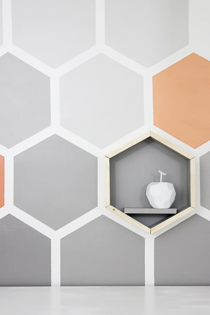 white apple hexagon wall
