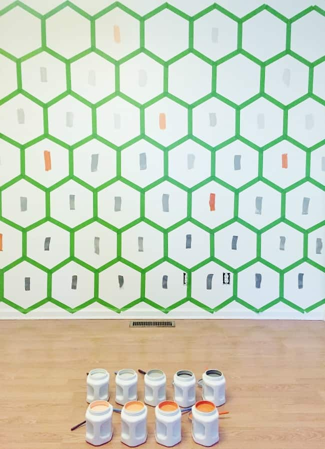 Hexagon Wall with Paint Swatches Picture