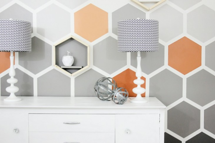 DIY Ombre Hexagon Wall