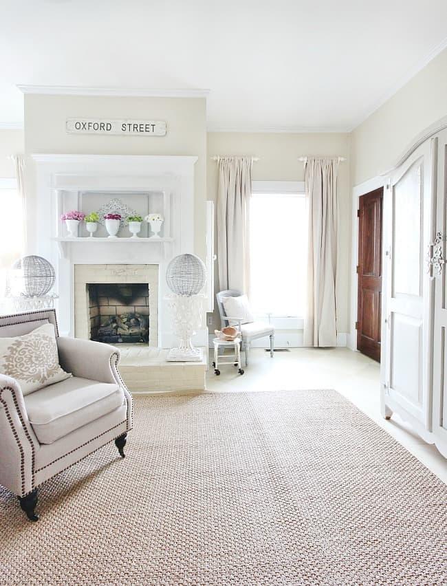 fireplace farmhouse master bedroom